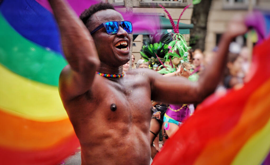 a happy man at the pride parade lgbt gay pride lgbtq happiness march choice rights homosexual t20 mLzwd8